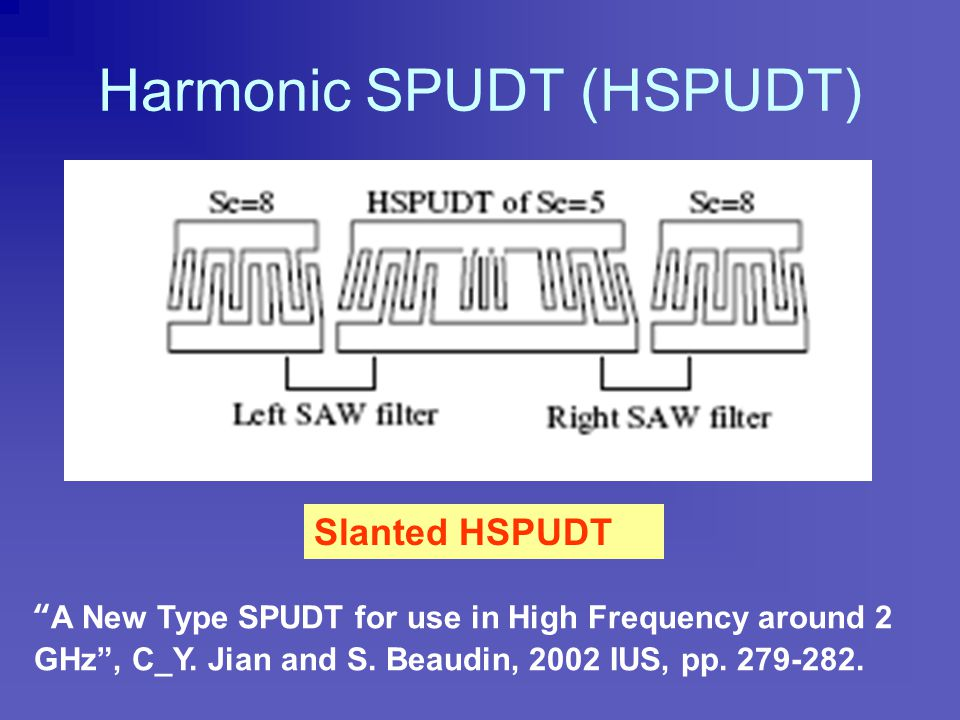 "Waveguide SPUDT ""New SPUDT Cell Structure"", G. Martin, H. Schmidt, and B. Wall, 2002 IUS, pp. 39-42."