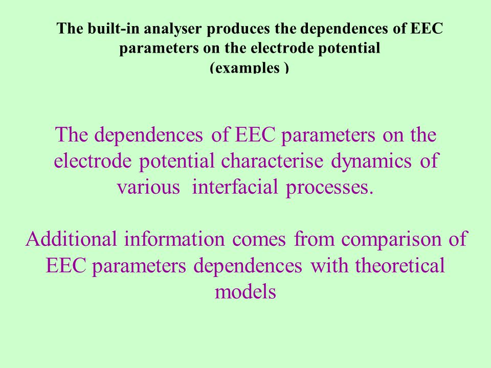 Cu and Bi monolayers formation accompanied by coadsorption of anions The built-in analyser produces the dependences of EEC parameters on the electrode potential (examples ) The dependences of EEC parameters on the electrode potential characterise dynamics of various interfacial processes.