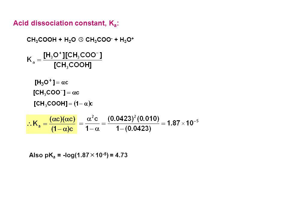 Acid dissociation constant, K a : CH 3 COOH + H 2 O  CH 3 COO - + H 3 O + Also pK a = -log(1.87  10 -5 ) = 4.73