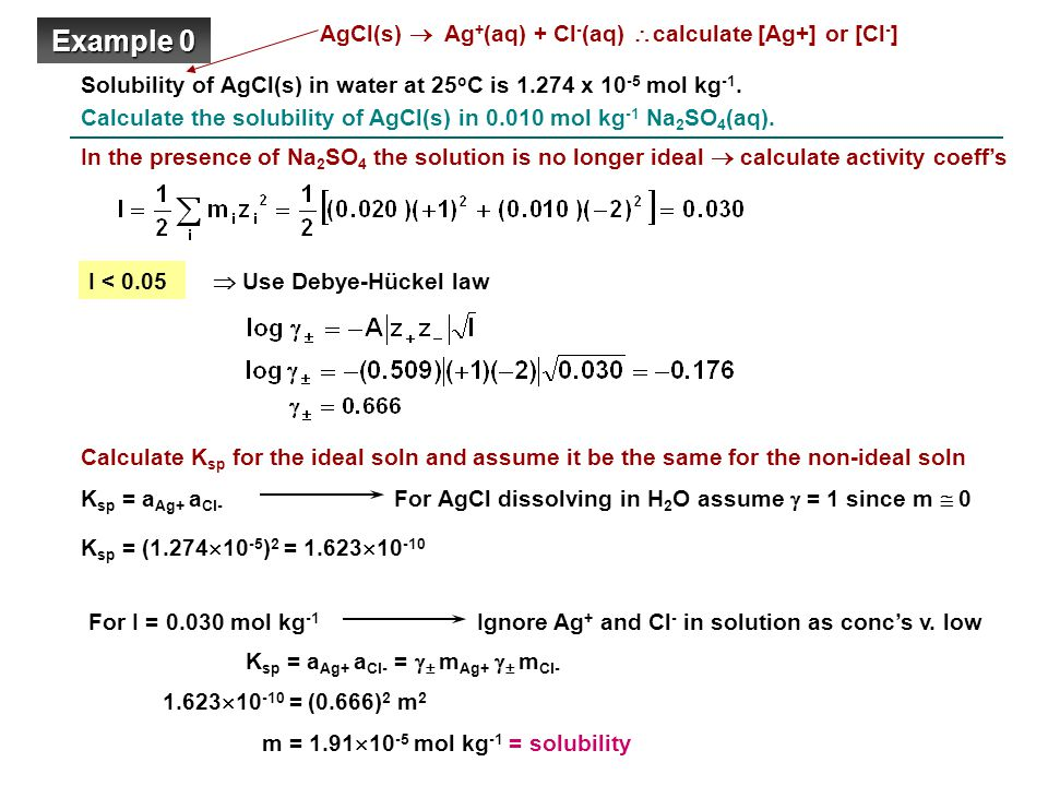 Solubility of AgCl(s) in water at 25 o C is 1.274 x 10 -5 mol kg -1.
