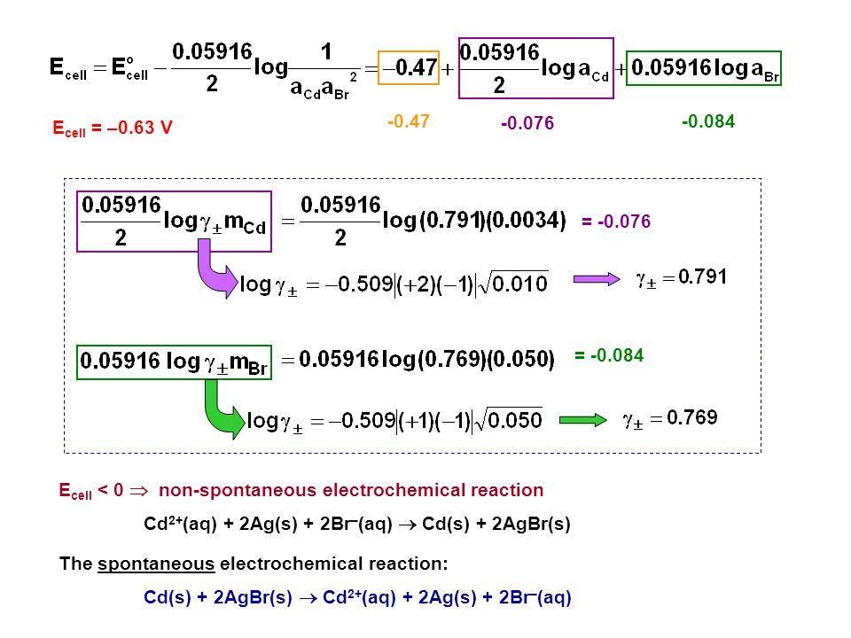 E cell < 0  non-spontaneous electrochemical reaction Cd 2+ (aq) + 2Ag(s) + 2Br – (aq)  Cd(s) + 2AgBr(s) The spontaneous electrochemical reaction: Cd