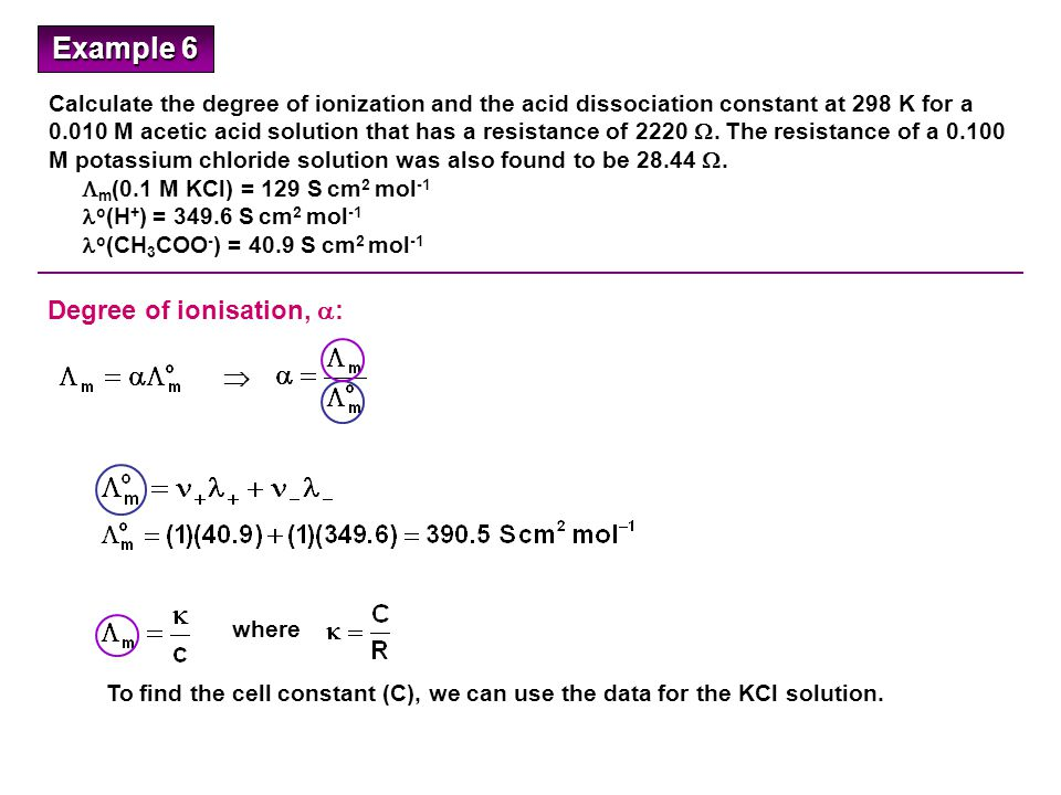 Calculate the degree of ionization and the acid dissociation constant at 298 K for a 0.010 M acetic acid solution that has a resistance of 2220 .
