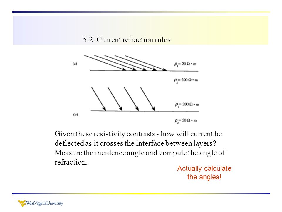 5.2. Current refraction rules Given these resistivity contrasts - how will current be deflected as it crosses the interface between layers? Measure th