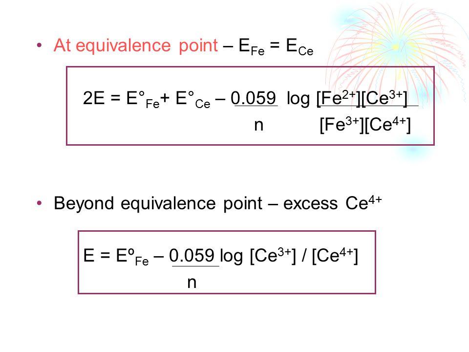 At equivalence point – E Fe = E Ce 2E = E° Fe + E° Ce – 0.059 log [Fe 2+ ][Ce 3+ ] n [Fe 3+ ][Ce 4+ ] Beyond equivalence point – excess Ce 4+ E = Eº Fe – 0.059 log [Ce 3+ ] / [Ce 4+ ] n