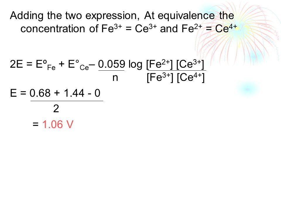 Adding the two expression, At equivalence the concentration of Fe 3+ = Ce 3+ and Fe 2+ = Ce 4+ 2E = Eº Fe + E° Ce – 0.059 log [Fe 2+ ] [Ce 3+ ] n [Fe 3+ ] [Ce 4+ ] E = 0.68 + 1.44 - 0 2 = 1.06 V