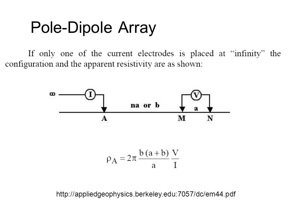 Pole-Dipole Array http://appliedgeophysics.berkeley.edu:7057/dc/em44.pdf