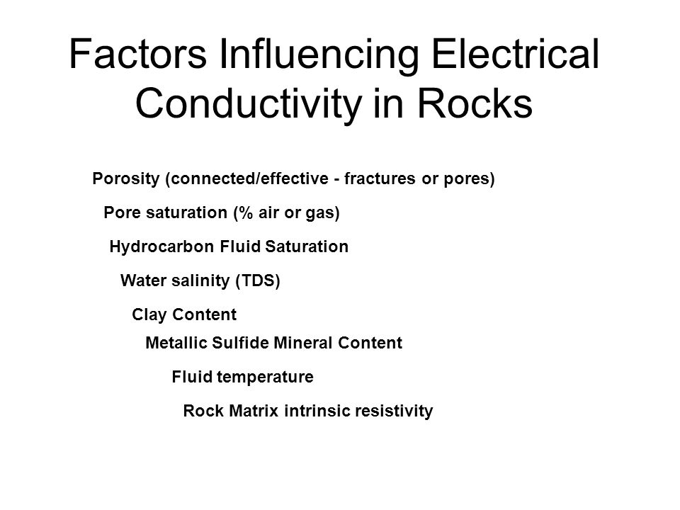 Factors Influencing Electrical Conductivity in Rocks Metallic Sulfide Mineral Content Porosity (connected/effective - fractures or pores) Clay Content Pore saturation (% air or gas) Water salinity (TDS) Hydrocarbon Fluid Saturation Rock Matrix intrinsic resistivity Fluid temperature