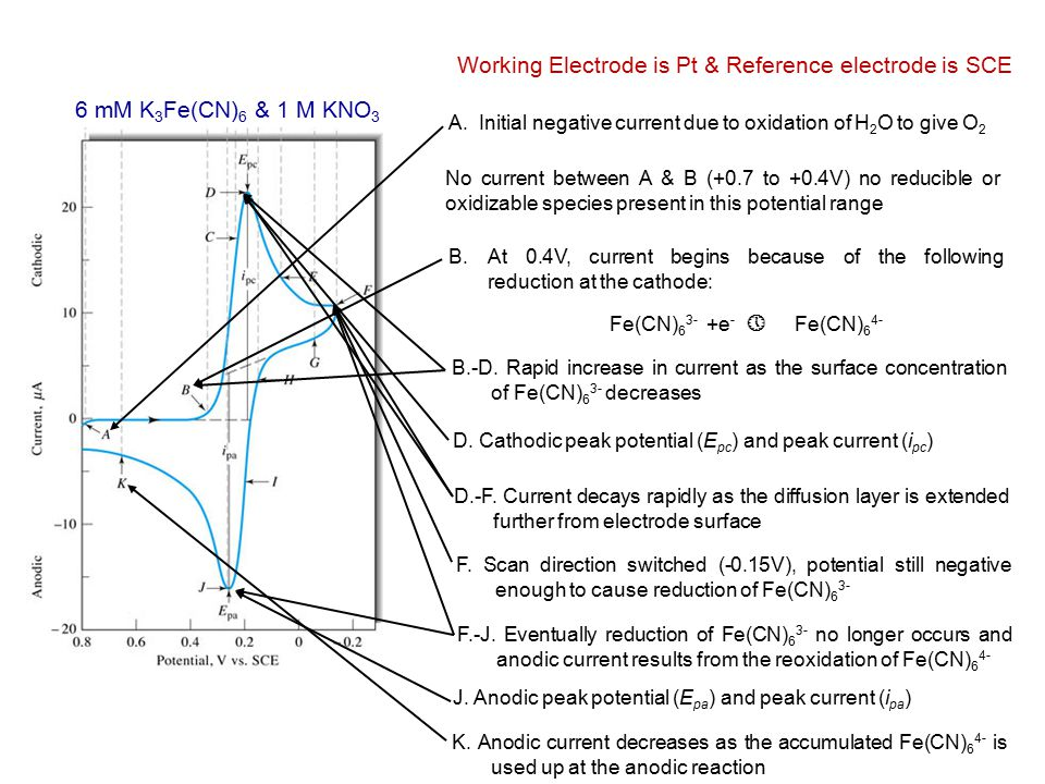 A. Initial negative current due to oxidation of H 2 O to give O 2 6 mM K 3 Fe(CN) 6 & 1 M KNO 3 Working Electrode is Pt & Reference electrode is SCE N