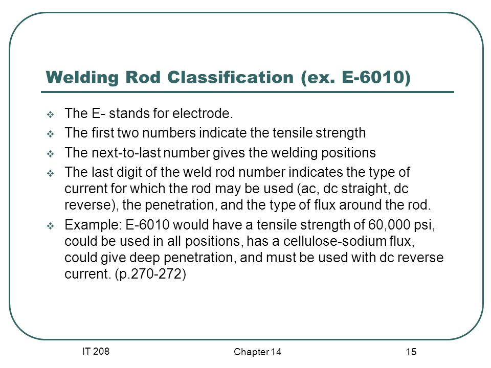 IT 208 Chapter 14 15 Welding Rod Classification (ex. E-6010)  The E- stands for electrode.  The first two numbers indicate the tensile strength  Th
