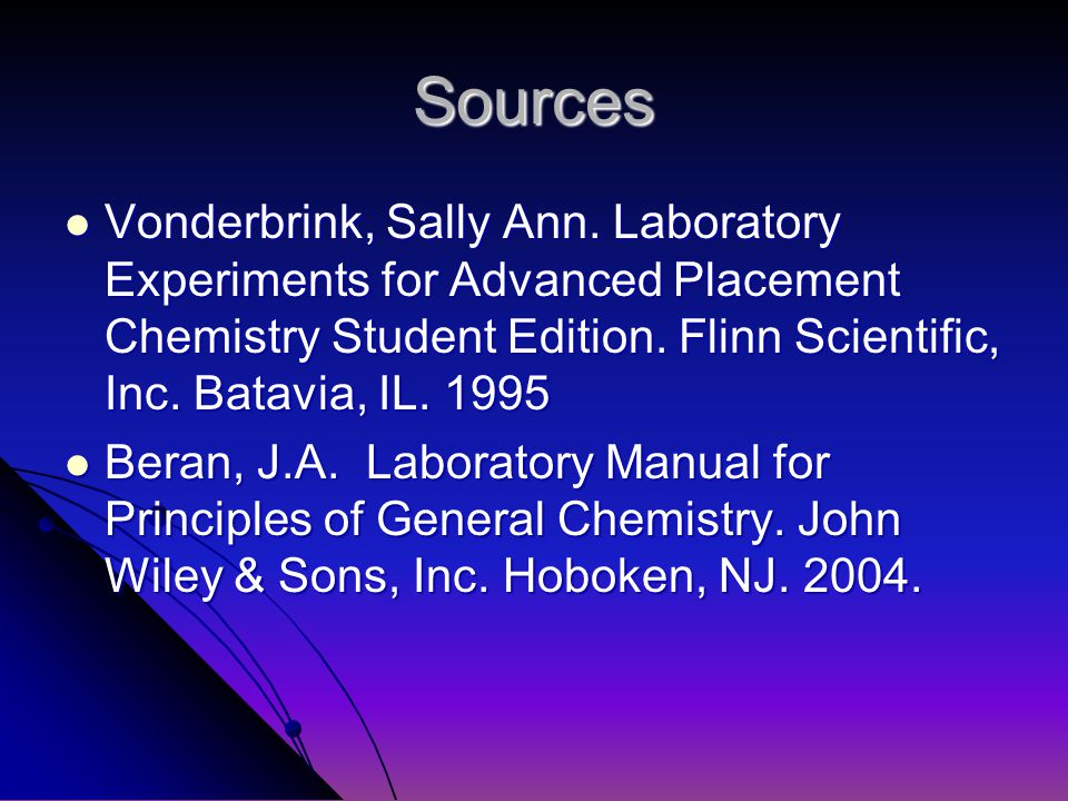 Sources Vonderbrink, Sally Ann.