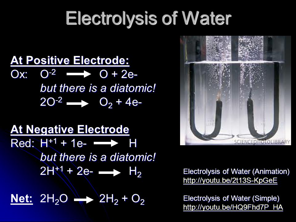 Electrolysis of Water At Positive Electrode: Ox: O -2 O + 2e- but there is a diatomic.
