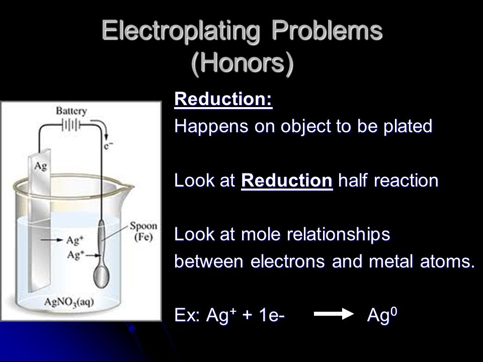 Electroplating Problems (Honors) Reduction: Happens on object to be plated Look at Reduction half reaction Look at mole relationships between electrons and metal atoms.