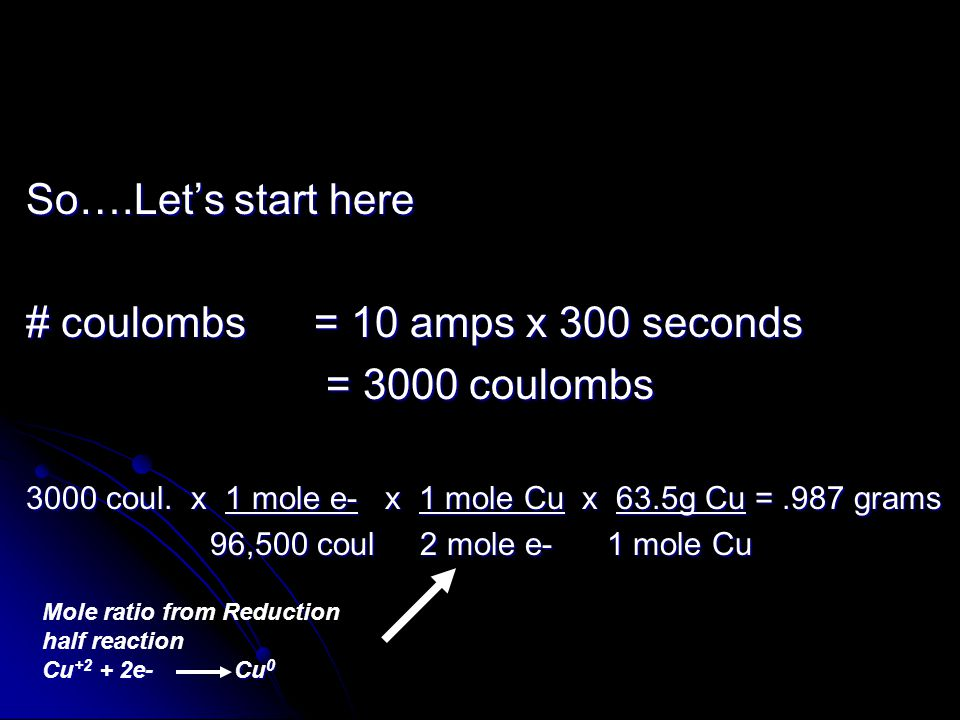 So….Let's start here # coulombs = 10 amps x 300 seconds = 3000 coulombs = 3000 coulombs 3000 coul.