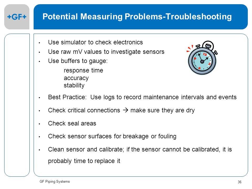 GF Piping Systems 36 Potential Measuring Problems-Troubleshooting Use simulator to check electronics Use raw mV values to investigate sensors Use buffers to gauge: response time accuracy stability Best Practice: Use logs to record maintenance intervals and events Check critical connections  make sure they are dry Check seal areas Check sensor surfaces for breakage or fouling Clean sensor and calibrate; if the sensor cannot be calibrated, it is probably time to replace it