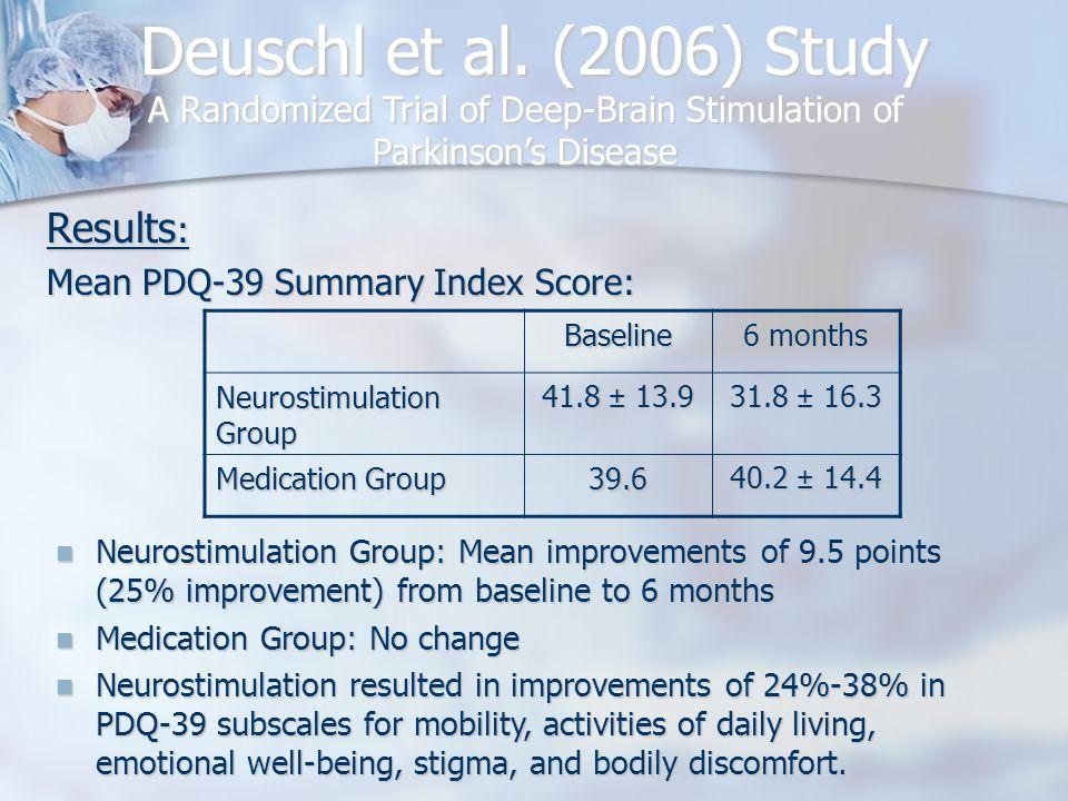 Deuschl et al. (2006) Study Results : Mean PDQ-39 Summary Index Score: A Randomized Trial of Deep-Brain Stimulation of Parkinson's Disease Baseline 6