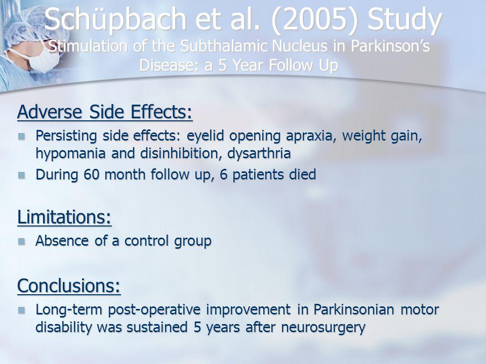 Sch ü pbach et al. (2005) Study Stimulation of the Subthalamic Nucleus in Parkinson's Disease: a 5 Year Follow Up Conclusions: Long-term post-operativ