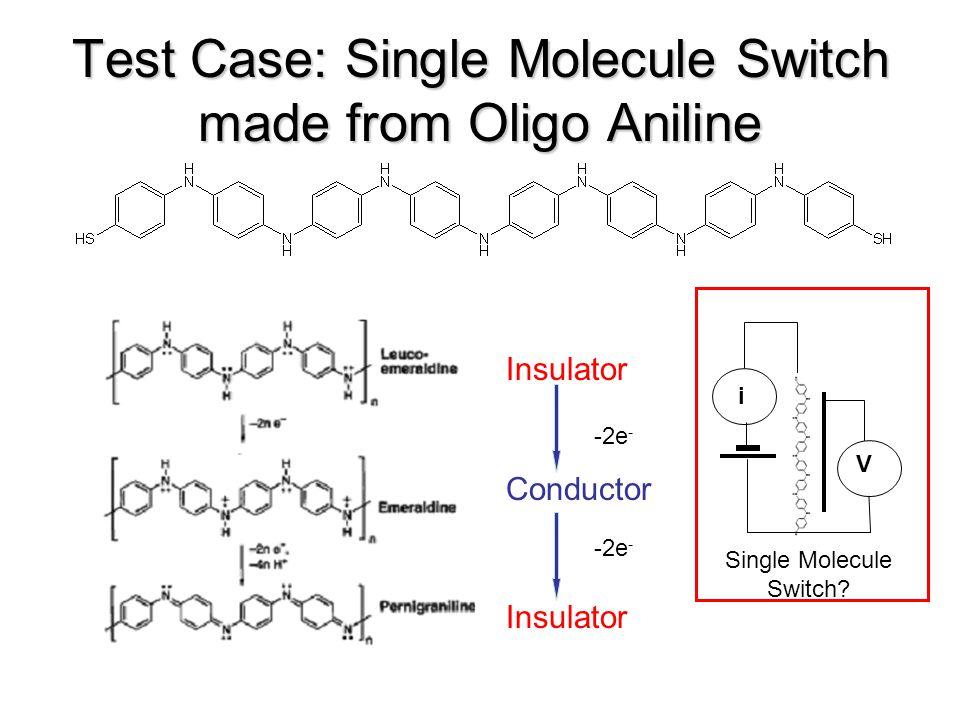 Test Case: Single Molecule Switch made from Oligo Aniline Insulator i V Conductor -2e - Insulator -2e - Single Molecule Switch