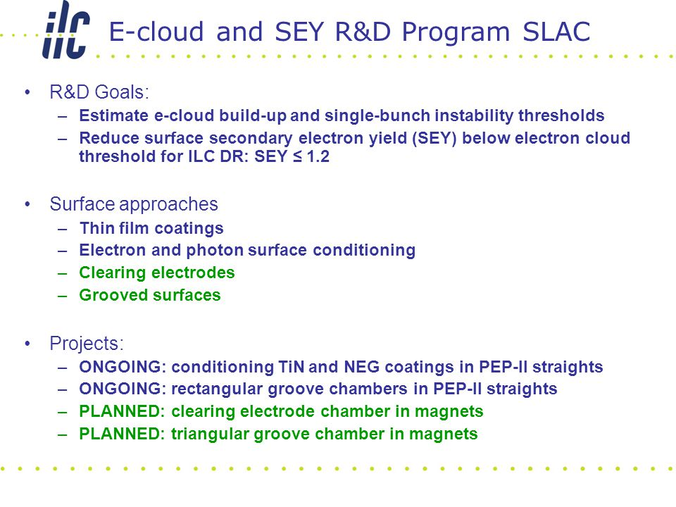 R&D Goals: –Estimate e-cloud build-up and single-bunch instability thresholds –Reduce surface secondary electron yield (SEY) below electron cloud thre