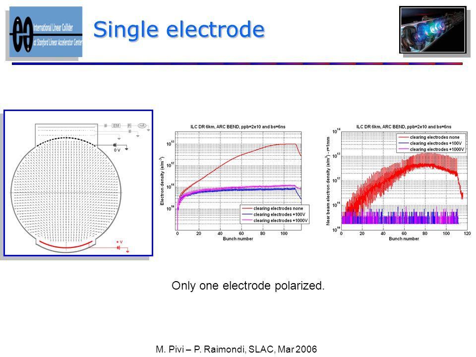 Only one electrode polarized. Single electrode M. Pivi – P. Raimondi, SLAC, Mar 2006