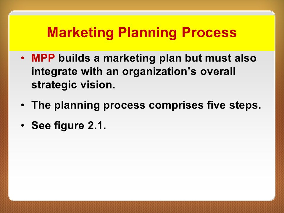 Marketing Planning Process MPP builds a marketing plan but must also integrate with an organization's overall strategic vision. The planning process c