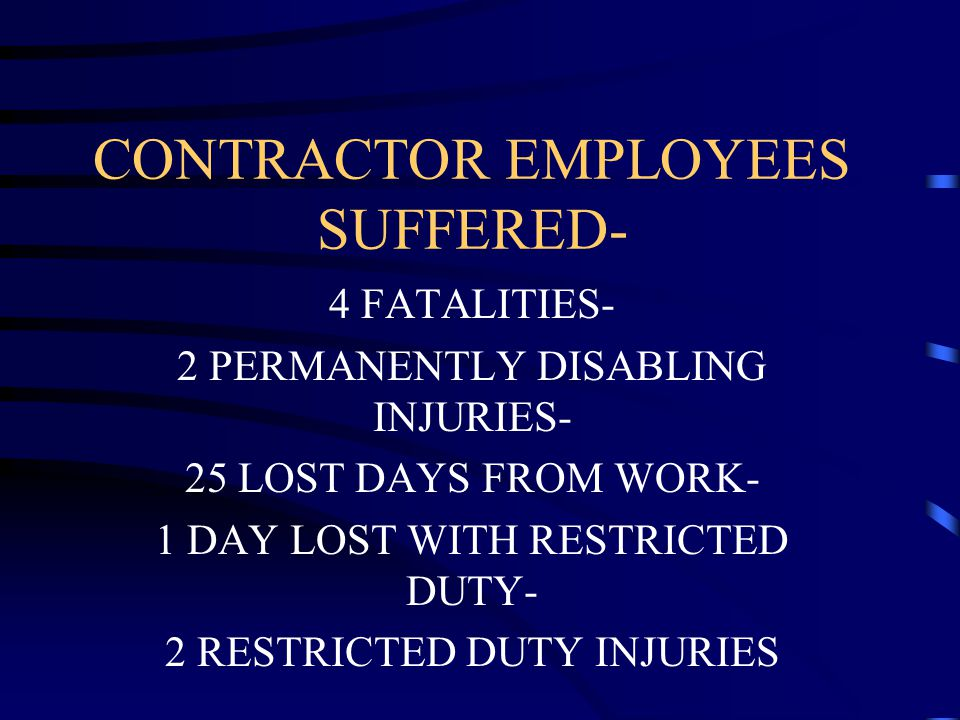 CONTRACTOR EMPLOYEES SUFFERED- 4 FATALITIES- 2 PERMANENTLY DISABLING INJURIES- 25 LOST DAYS FROM WORK- 1 DAY LOST WITH RESTRICTED DUTY- 2 RESTRICTED DUTY INJURIES