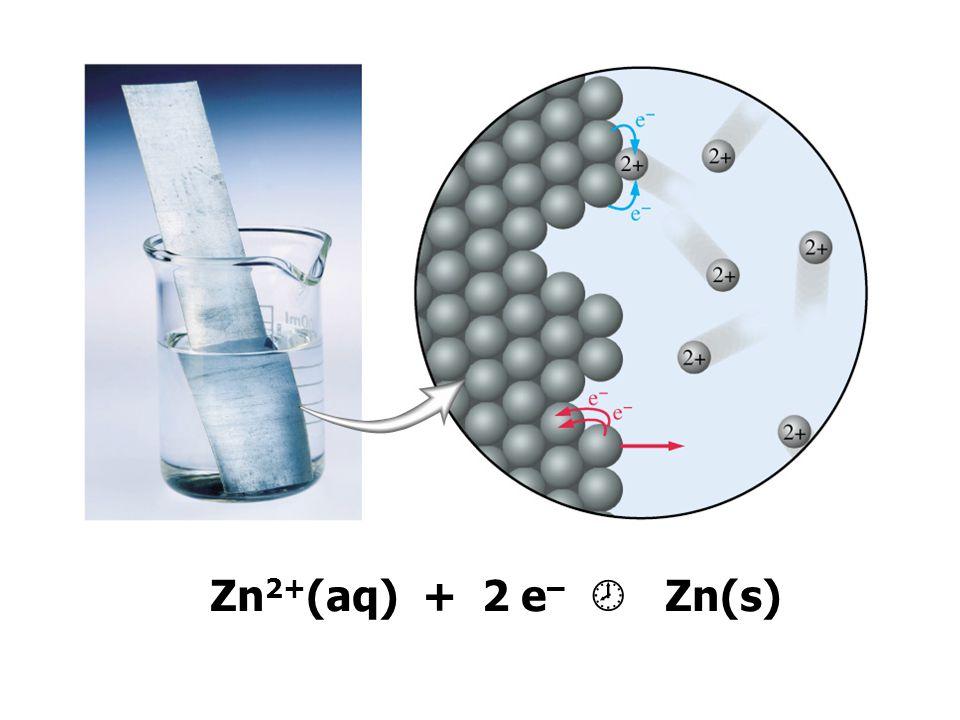 Zn 2+ (aq) + 2 e –  Zn(s)