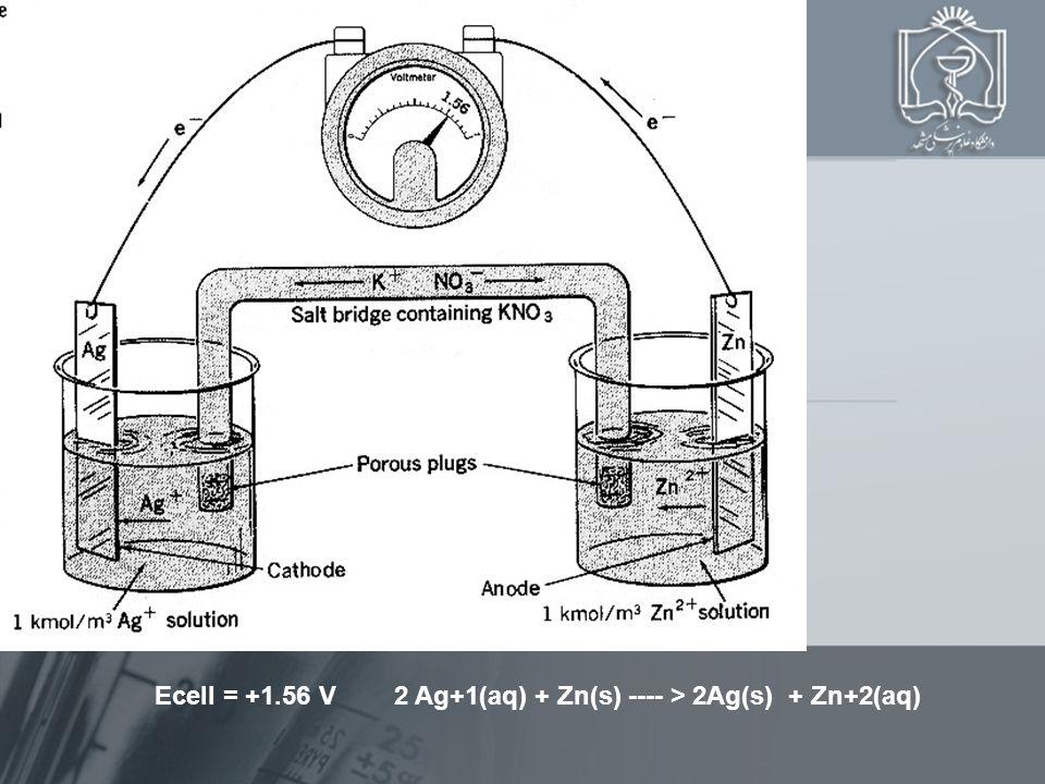 Ecell = +1.56 V 2 Ag+1(aq) + Zn(s) ---- > 2Ag(s) + Zn+2(aq)
