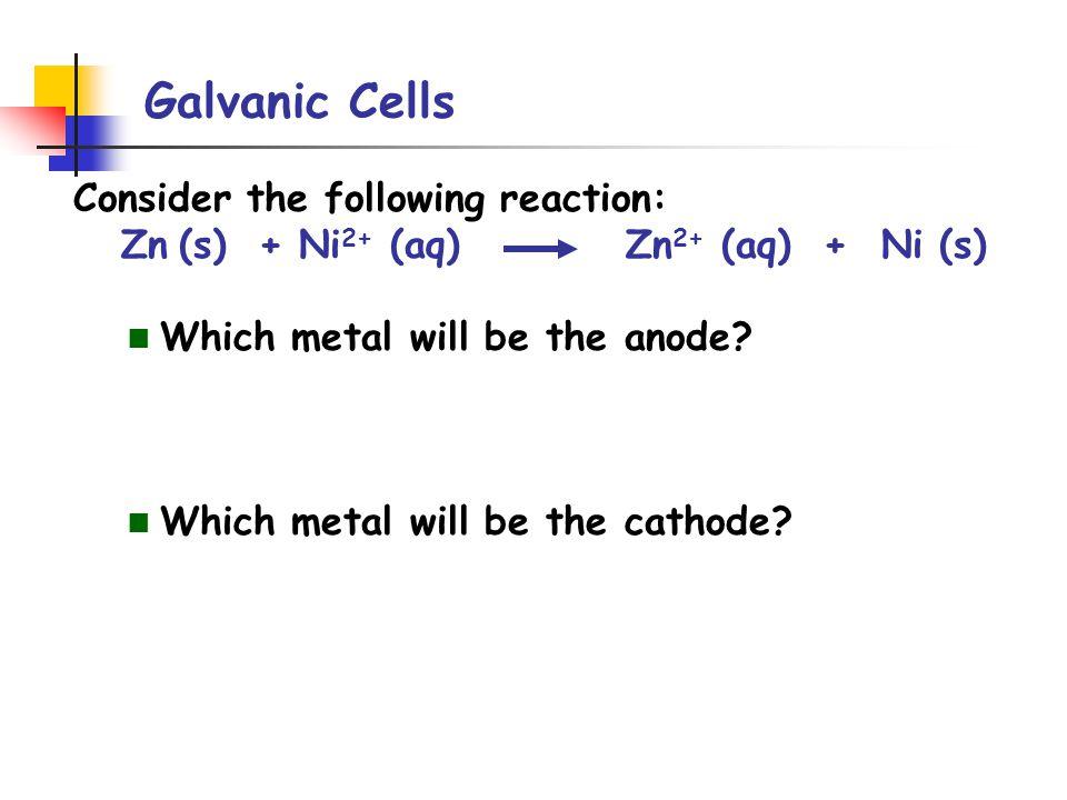 Galvanic Cells Standard cell potential E o cell = E o red (cathode) - E o red (anode) reductionoxidation