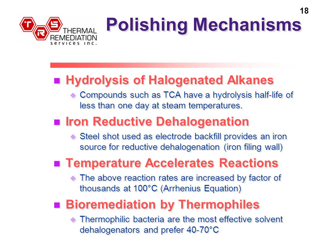 18 Polishing Mechanisms Hydrolysis of Halogenated Alkanes u Compounds such as TCA have a hydrolysis half-life of less than one day at steam temperatures.