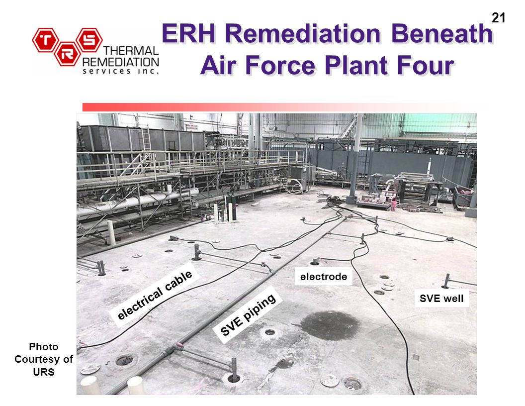 21 ERH Remediation Beneath Air Force Plant Four SVE piping electrical cable electrode SVE well Photo Courtesy of URS