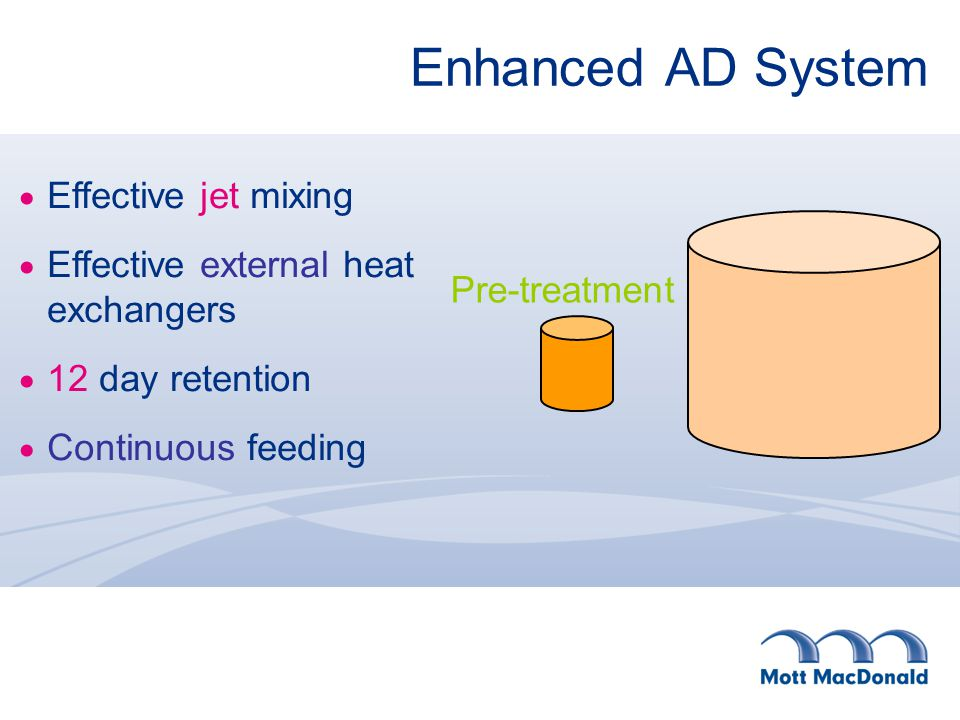 Enhanced AD System  Effective jet mixing  Effective external heat exchangers  12 day retention  Continuous feeding Pre-treatment