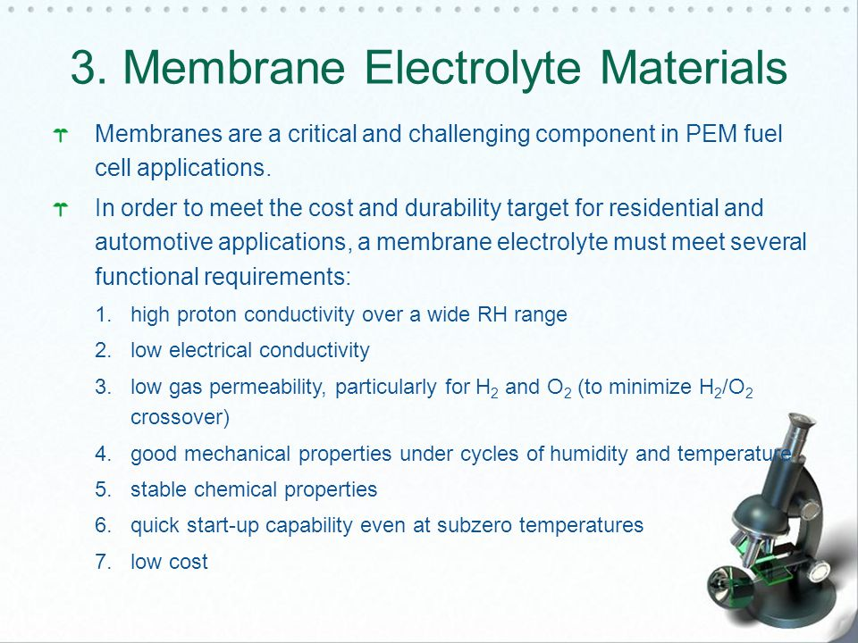 Membranes are a critical and challenging component in PEM fuel cell applications.