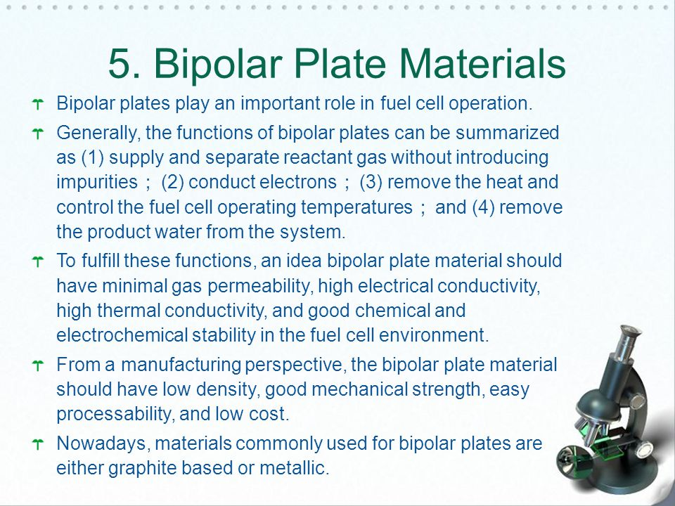 Bipolar plates play an important role in fuel cell operation.