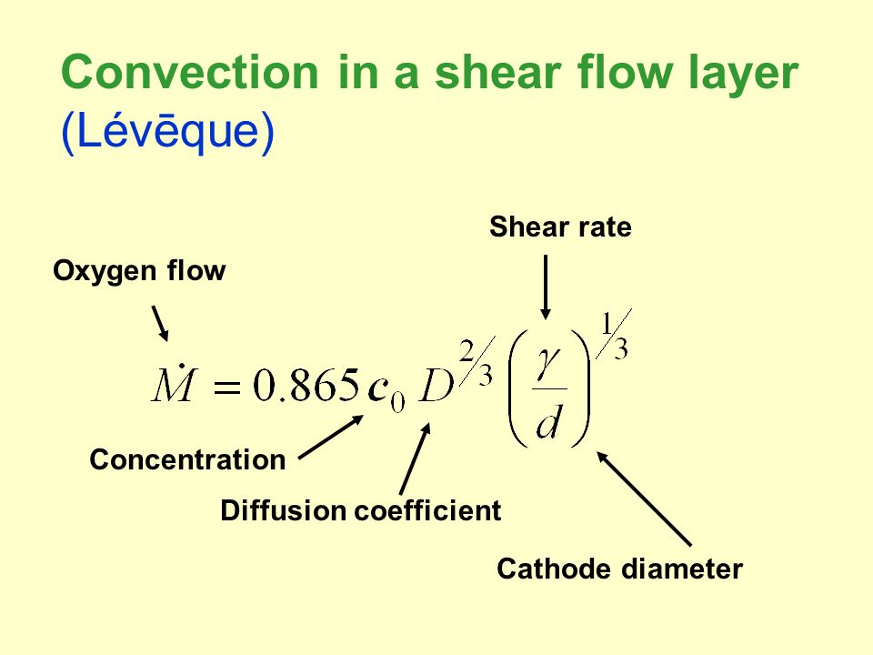 Diffusion coefficient Concentration Shear rate Cathode diameter Oxygen flow Convection in a shear flow layer (Lévēque)