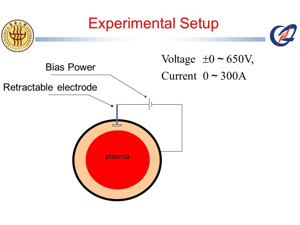 Retractable electrode Bias Power plasma Voltage  0 ~ 650V, Current 0 ~ 300A Experimental Setup