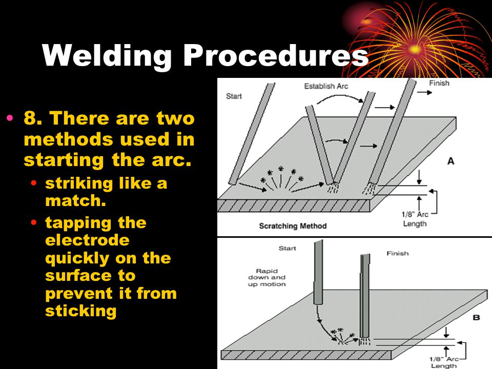 Welding Procedures 8. There are two methods used in starting the arc. striking like a match. tapping the electrode quickly on the surface to prevent i