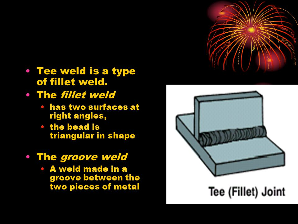 Tee weld is a type of fillet weld. The fillet weld has two surfaces at right angles, the bead is triangular in shape The groove weld A weld made in a