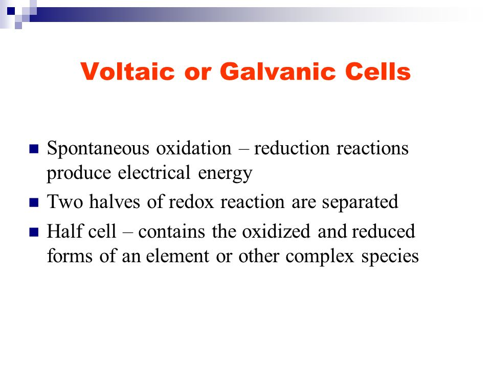 Standard Electrode Potentials Magnitude of a cell's potential measures the spontaneity of its redox reaction Higher cell potentials indicate a greater driving force Want to separate total cell potentials into individual potentials of the two half reactions Determine tendencies for redox reactions