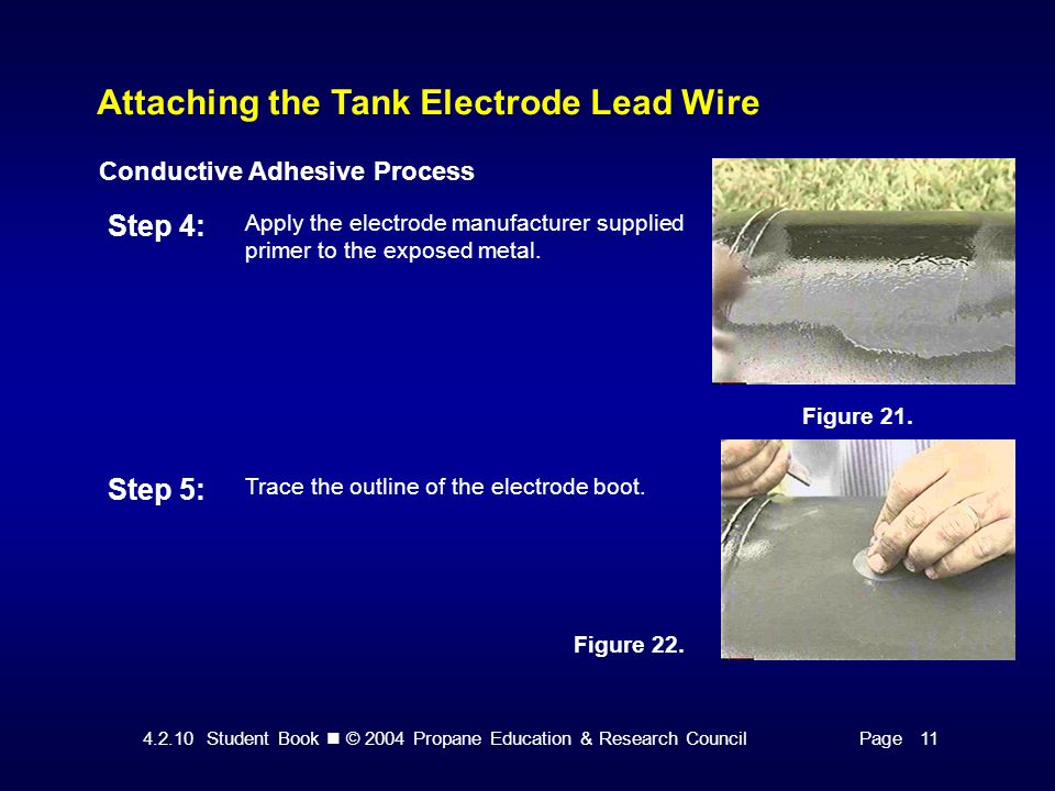 4.2.10 Student Book © 2004 Propane Education & Research CouncilPage 11 Attaching the Tank Electrode Lead Wire Conductive Adhesive Process Step 4: Apply the electrode manufacturer supplied primer to the exposed metal.