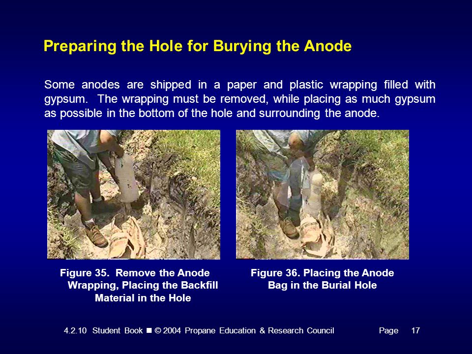 4.2.10 Student Book © 2004 Propane Education & Research CouncilPage 17 Preparing the Hole for Burying the Anode Some anodes are shipped in a paper and plastic wrapping filled with gypsum.