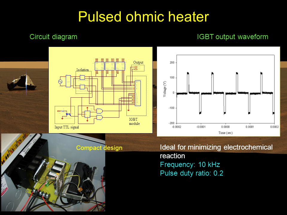 Pulsed ohmic heater Circuit diagram IGBT module Input TTL signal Output Isolation IGBT output waveform Ideal for minimizing electrochemical reaction Frequency: 10 kHz Pulse duty ratio: 0.2 Compact design