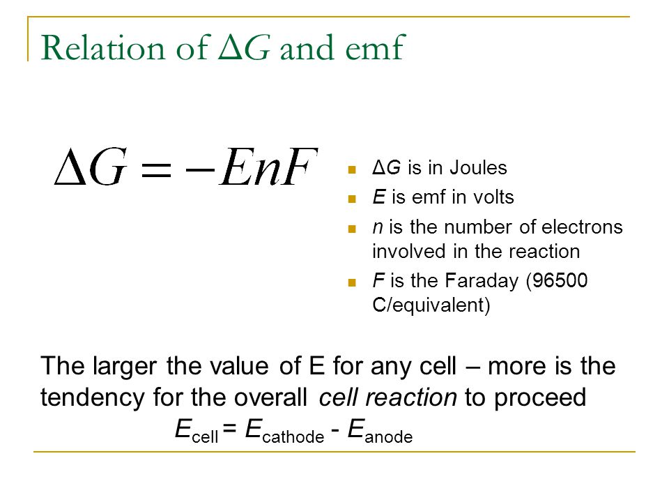 The Nernst Equation General Reaction for a Galvanic Cell Nernst Equation: