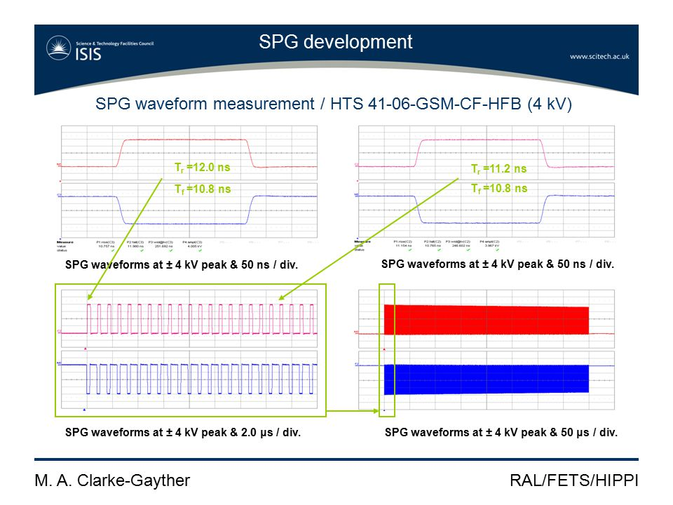 M. A. Clarke-GaytherRAL/FETS/HIPPI SPG development SPG waveforms at ± 4 kV peak & 50 ns / div.