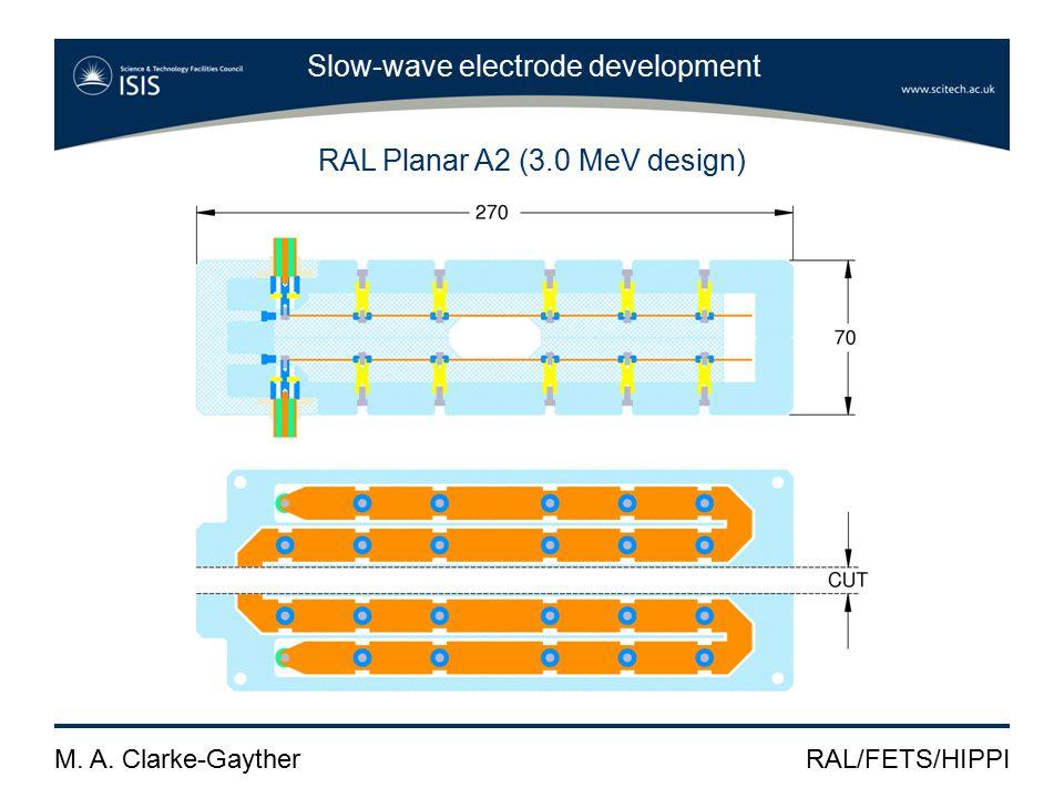 M. A. Clarke-GaytherRAL/FETS/HIPPI Slow-wave electrode development RAL Planar A2 (3.0 MeV design)