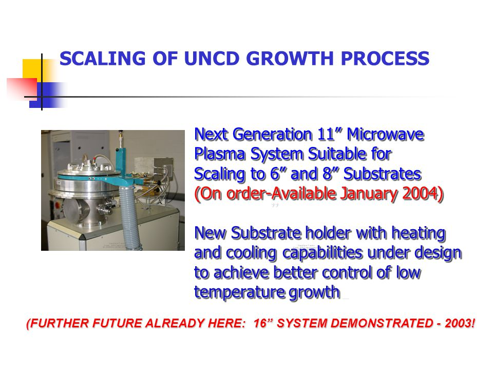 SCALING OF UNCD GROWTH PROCESS Next Generation 11 Microwave Plasma System Suitable for Scaling to 6 and 8 Substrates (On order-Available January 2004) New Substrate holder with heating and cooling capabilities under design to achieve better control of low temperature growth (FURTHER FUTURE ALREADY HERE: 16 SYSTEM DEMONSTRATED - 2003.