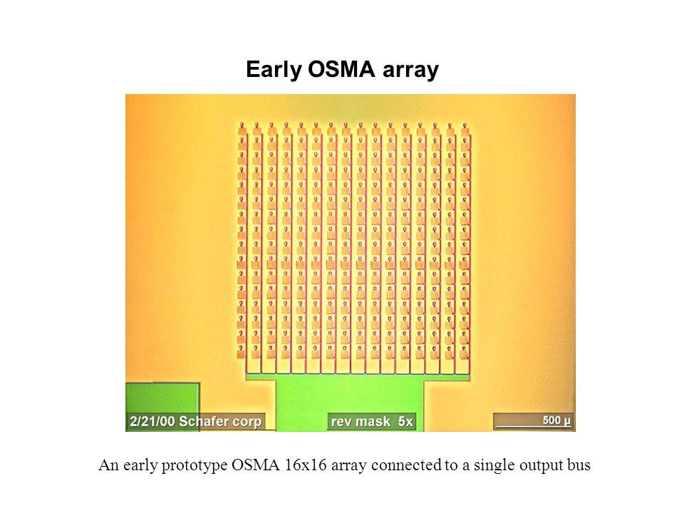 Early OSMA array An early prototype OSMA 16x16 array connected to a single output bus