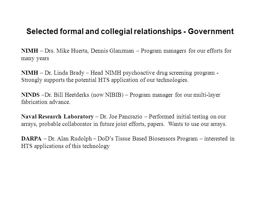 Selected formal and collegial relationships - Government NIMH – Drs.