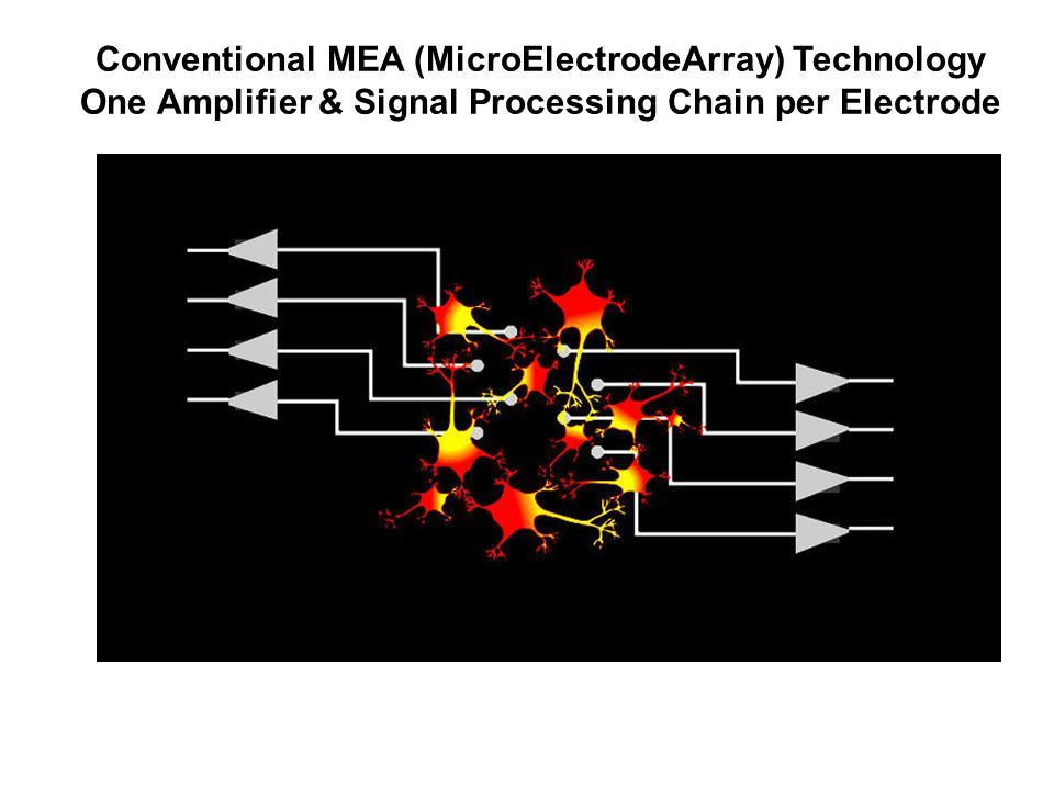 Conventional MEA (MicroElectrodeArray) Technology One Amplifier & Signal Processing Chain per Electrode