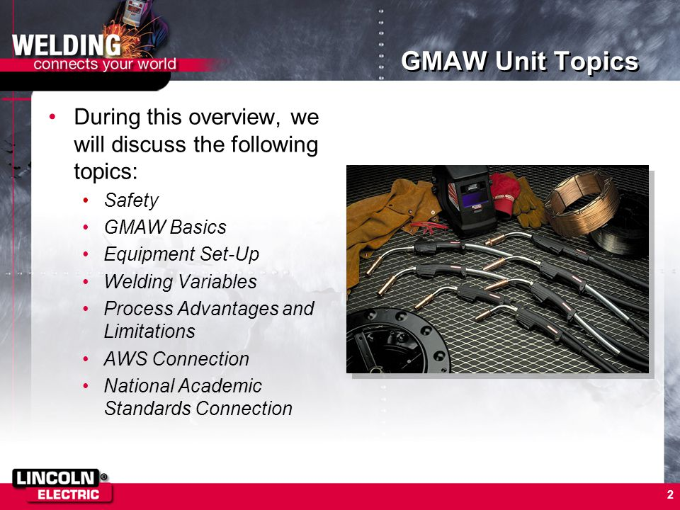 3 Unit Objectives Upon successful completion of the GMAW Unit of Study, you will have learned about: –Properly protecting yourself and others while welding –Setting up and operating GMAW equipment –Striking and maintaining an arc –Welding in four positions using various electrodes –Weld Inspection –The AWS electrode classification system –Taking the next step to becoming a certified welder