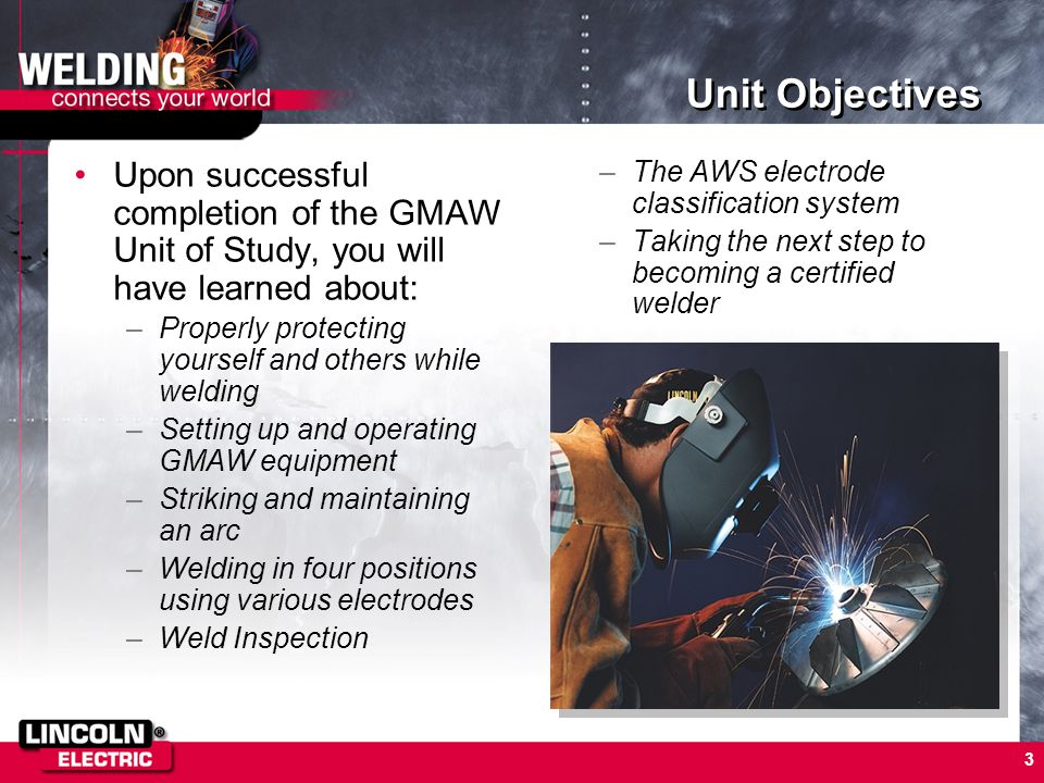 3 Unit Objectives Upon successful completion of the GMAW Unit of Study, you will have learned about: –Properly protecting yourself and others while we